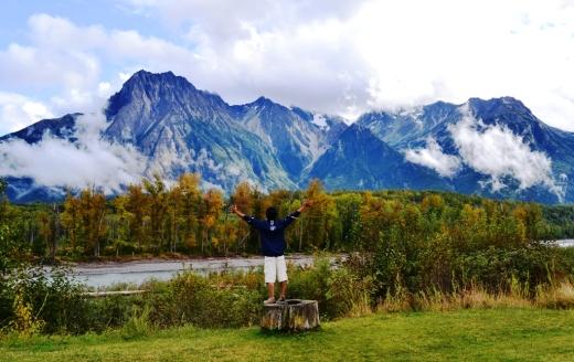 reaching at the far away mountain